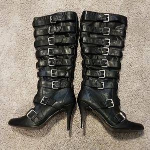 Diba Stiletto Black Vegan Leather Buckle Boots 8m
